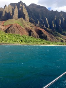 Views along the Napali Coast, Kaua'i.