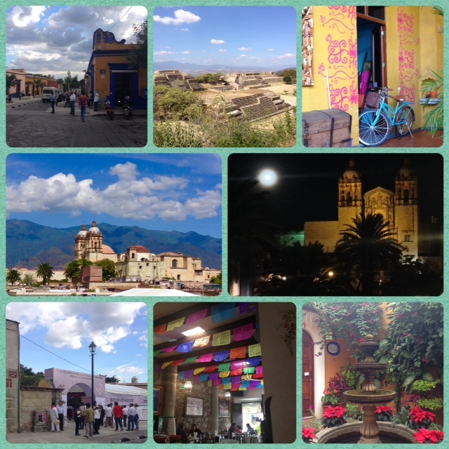 "Clockwise from left: Downtown, the Zapotec ruins of Monte Albán, shop within La Biznaga restaurant, Santo Domingo by night, a patio downtown, Restaurante ""Tayu,"" Indigenous art fair, Santo Domingo by day."