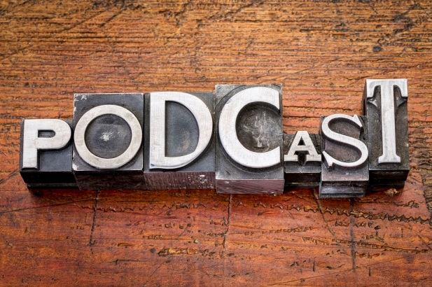 podcast word in metal type
